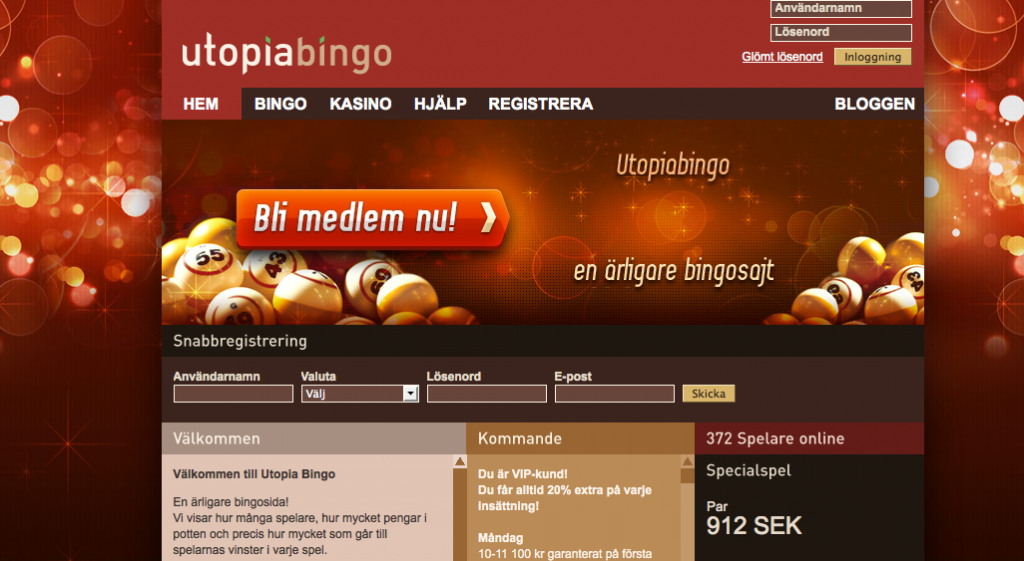 utopia bingo hemsida